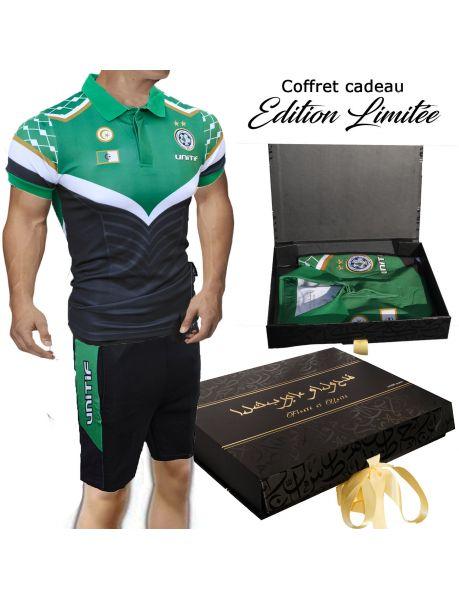 Ensemble Maillot Algerie Football et Short pour Supporter Epais Logo Brode Qualite Premium 200 GSM col et Ourlet de Manch